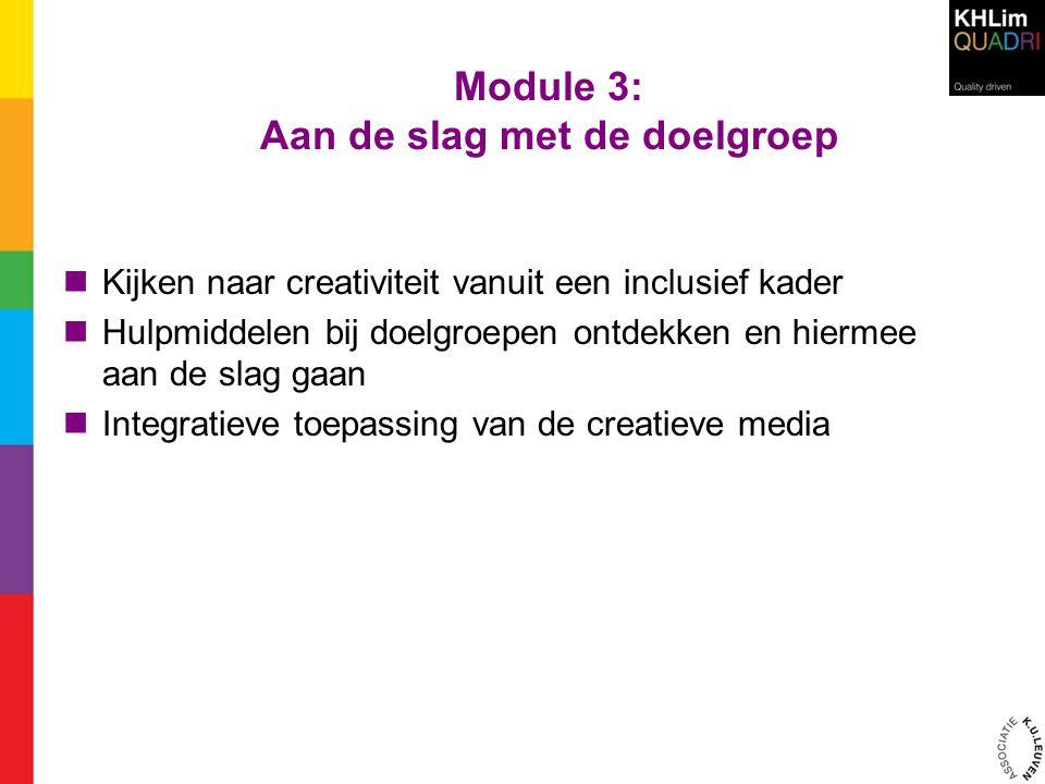 Module 3: Aan de slag met de doelgroep  Kijken naar creativiteit vanuit een inclusief kader  Hulpmiddelen bij doelgroepen ontdekken en hiermee aan d