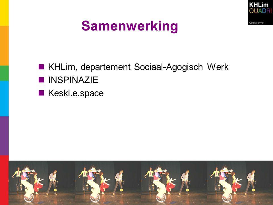Samenwerking  KHLim, departement Sociaal-Agogisch Werk  INSPINAZIE  Keski.e.space
