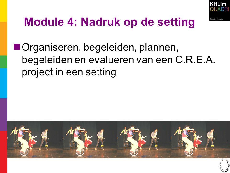 Module 4: Nadruk op de setting  Organiseren, begeleiden, plannen, begeleiden en evalueren van een C.R.E.A. project in een setting