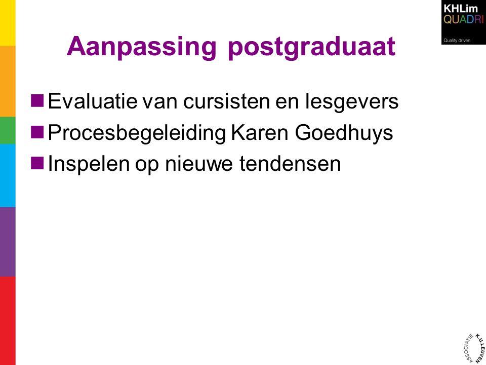 Aanpassing postgraduaat  Evaluatie van cursisten en lesgevers  Procesbegeleiding Karen Goedhuys  Inspelen op nieuwe tendensen