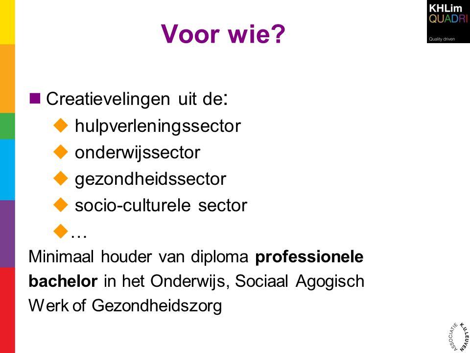 Voor wie?  Creatievelingen uit de :  hulpverleningssector  onderwijssector  gezondheidssector  socio-culturele sector  … Minimaal houder van dip