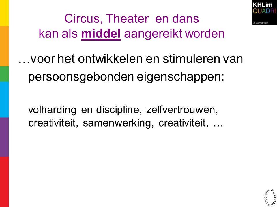 Circus, Theater en dans kan als middel aangereikt worden …voor het ontwikkelen en stimuleren van persoonsgebonden eigenschappen: volharding en discipl