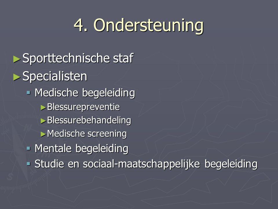 4. Ondersteuning ► Sporttechnische staf ► Specialisten  Medische begeleiding ► Blessurepreventie ► Blessurebehandeling ► Medische screening  Mentale