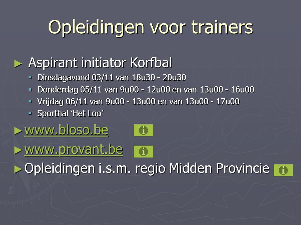 Opleidingen voor trainers ► Aspirant initiator Korfbal  Dinsdagavond 03/11 van 18u30 - 20u30  Donderdag 05/11 van 9u00 - 12u00 en van 13u00 - 16u00