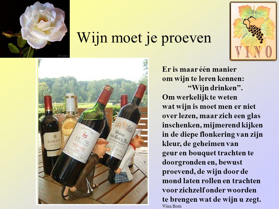 Domaine des Crès Ricards Wat is het verschil tussen een Nederlandse en een Belgische wijnkenner? Een Nederlandse wijnkenner heeft een wijnencyclopedie