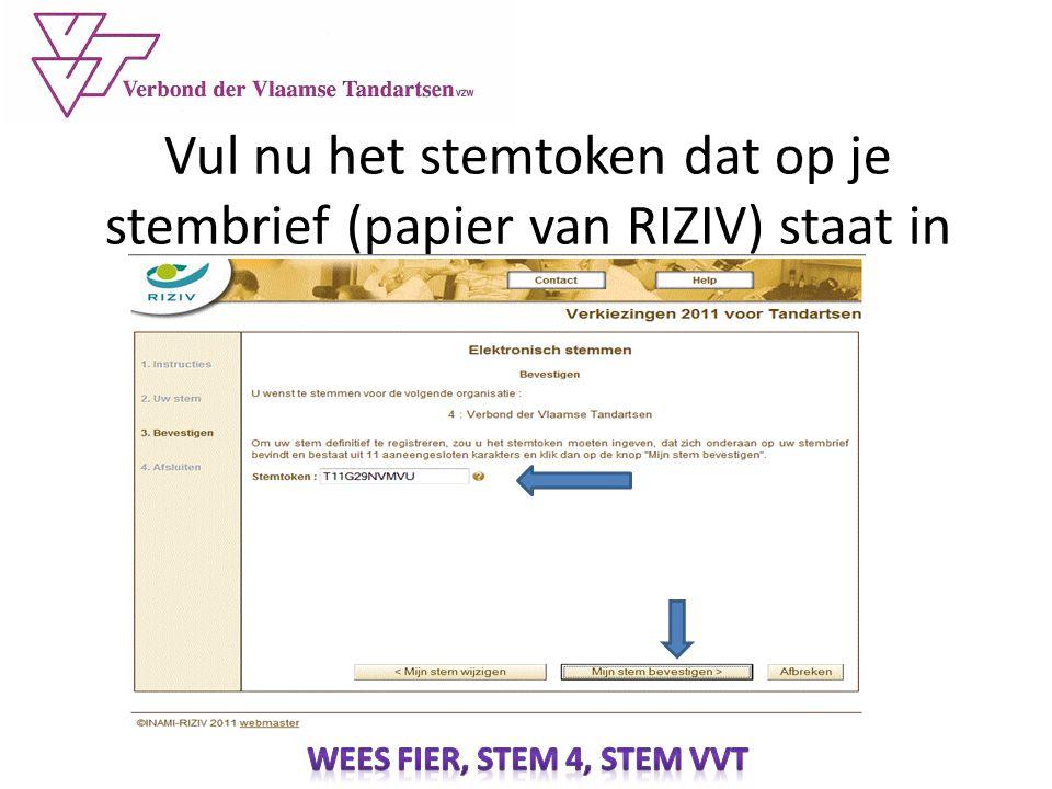 Vul nu het stemtoken dat op je stembrief (papier van RIZIV) staat in