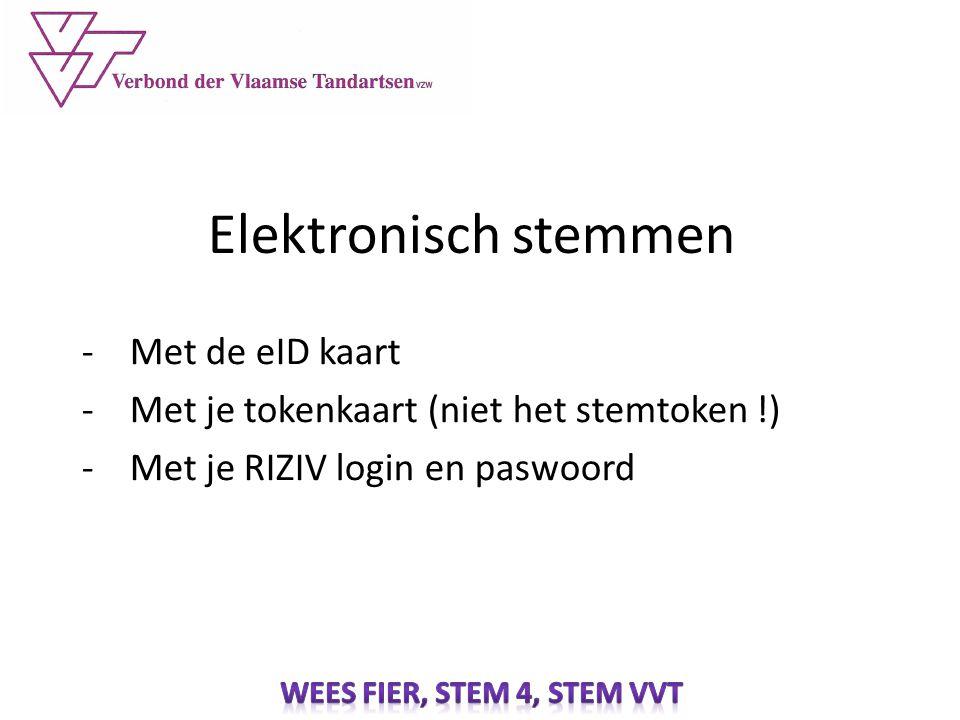 Elektronisch stemmen -Met de eID kaart -Met je tokenkaart (niet het stemtoken !) -Met je RIZIV login en paswoord