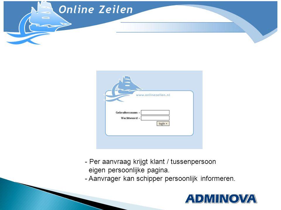 - Per aanvraag krijgt klant / tussenpersoon _eigen persoonlijke pagina. - Aanvrager kan schipper persoonlijk informeren.