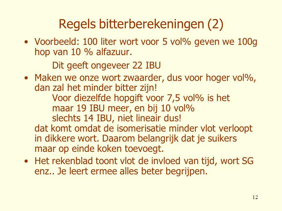 12 Regels bitterberekeningen (2) •Voorbeeld: 100 liter wort voor 5 vol% geven we 100g hop van 10 % alfazuur. Dit geeft ongeveer 22 IBU •Maken we onze