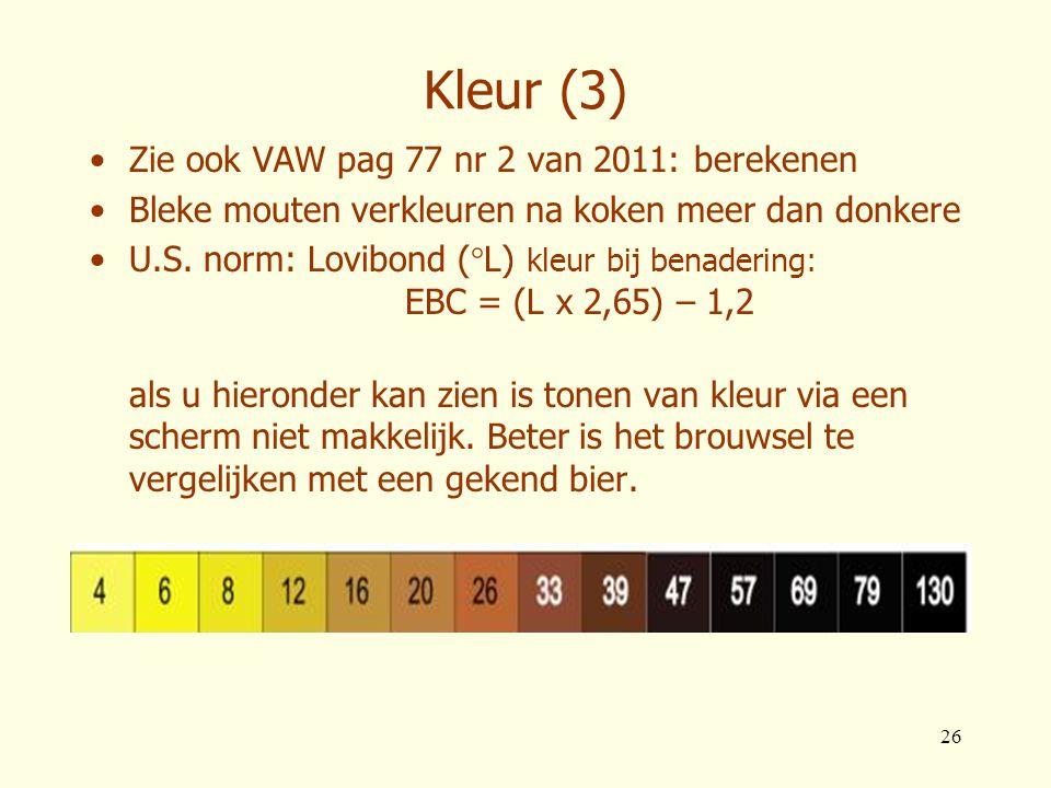 26 Kleur (3) •Zie ook VAW pag 77 nr 2 van 2011: berekenen •Bleke mouten verkleuren na koken meer dan donkere •U.S. norm: Lovibond (°L) kleur bij benad