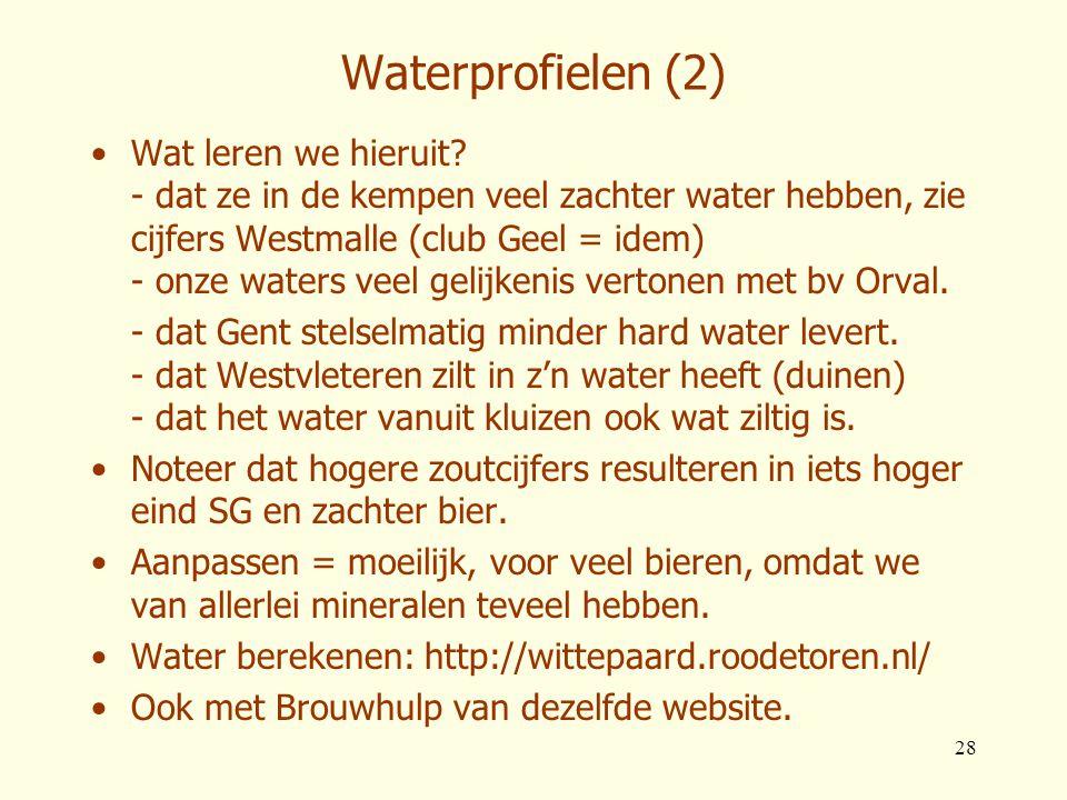 28 Waterprofielen (2) •Wat leren we hieruit? - dat ze in de kempen veel zachter water hebben, zie cijfers Westmalle (club Geel = idem) - onze waters v