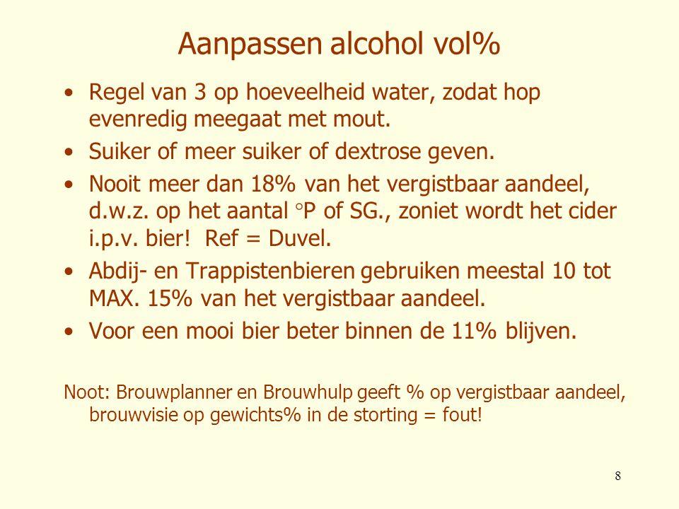 8 Aanpassen alcohol vol% •Regel van 3 op hoeveelheid water, zodat hop evenredig meegaat met mout. •Suiker of meer suiker of dextrose geven. •Nooit mee