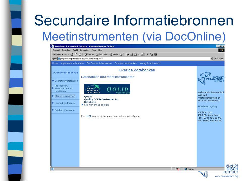 Secundaire Informatiebronnen Protocollen (via DocOnline)