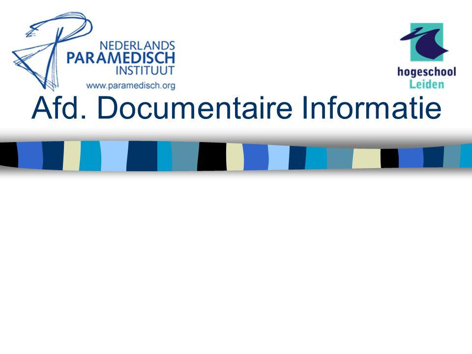 Secundaire Informatiebronnen Lopend onderzoek (via DocOnline)