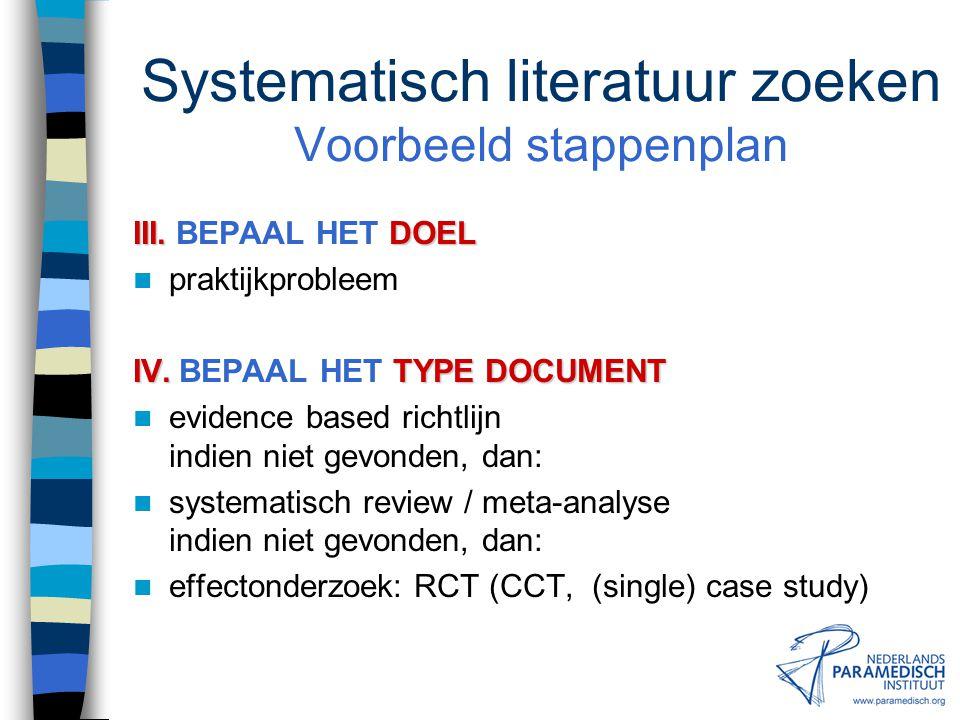 Systematisch literatuur zoeken Voorbeeld stappenplan II.ZOEKVRAAG II.