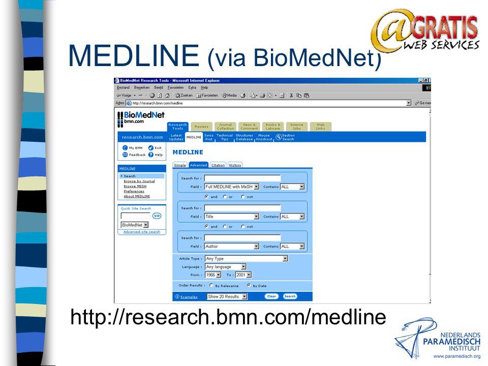 MEDLINE (via BioMedNet) http://research.bmn.com/medline