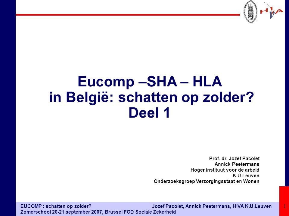 EUCOMP : schatten op zolder? Zomerschool 20-21 september 2007, Brussel FOD Sociale Zekerheid Jozef Pacolet, Annick Peetermans, HIVA K.U.Leuven 1 Prof.
