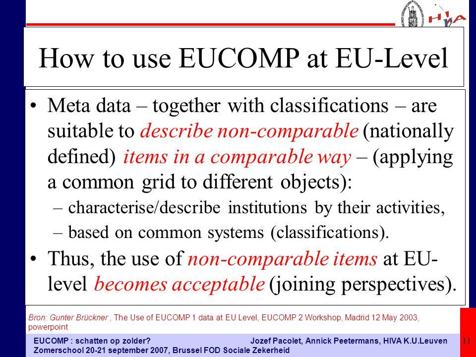 EUCOMP : schatten op zolder? Zomerschool 20-21 september 2007, Brussel FOD Sociale Zekerheid Jozef Pacolet, Annick Peetermans, HIVA K.U.Leuven 11 How