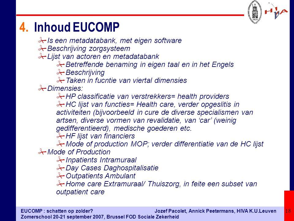 EUCOMP : schatten op zolder? Zomerschool 20-21 september 2007, Brussel FOD Sociale Zekerheid Jozef Pacolet, Annick Peetermans, HIVA K.U.Leuven 18 #Is