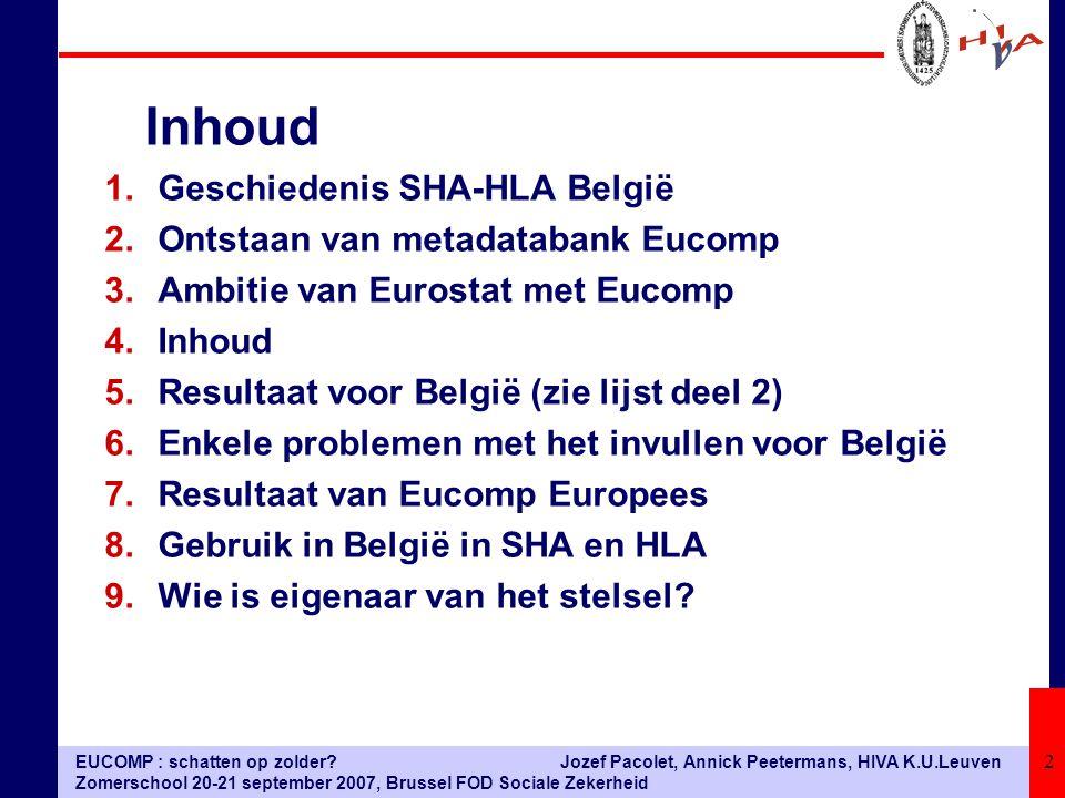 EUCOMP : schatten op zolder? Zomerschool 20-21 september 2007, Brussel FOD Sociale Zekerheid Jozef Pacolet, Annick Peetermans, HIVA K.U.Leuven 2 1.Ges