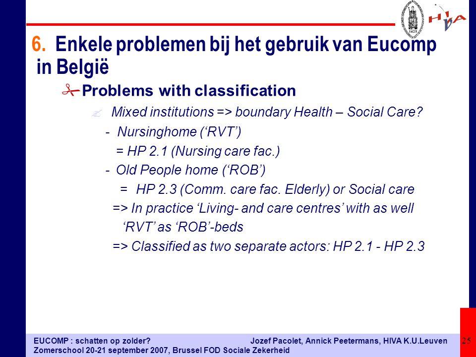 EUCOMP : schatten op zolder? Zomerschool 20-21 september 2007, Brussel FOD Sociale Zekerheid Jozef Pacolet, Annick Peetermans, HIVA K.U.Leuven 25 #Pro