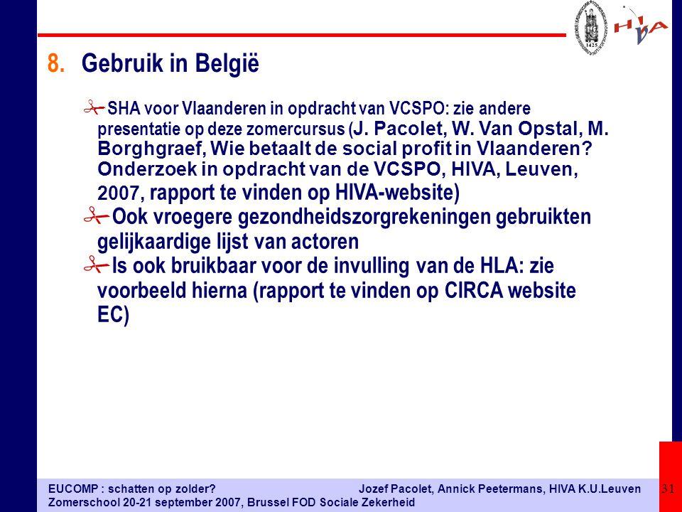 EUCOMP : schatten op zolder? Zomerschool 20-21 september 2007, Brussel FOD Sociale Zekerheid Jozef Pacolet, Annick Peetermans, HIVA K.U.Leuven 31  SH