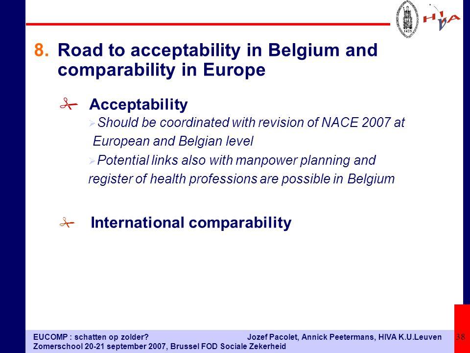 EUCOMP : schatten op zolder? Zomerschool 20-21 september 2007, Brussel FOD Sociale Zekerheid Jozef Pacolet, Annick Peetermans, HIVA K.U.Leuven 38 # Ac