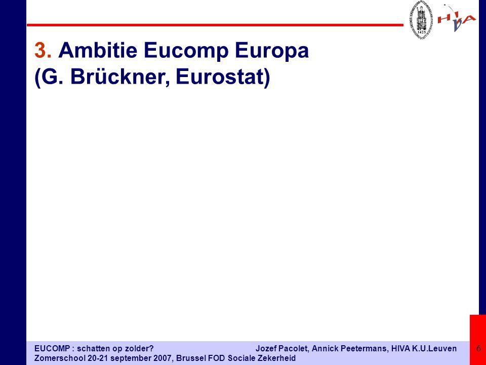 EUCOMP : schatten op zolder? Zomerschool 20-21 september 2007, Brussel FOD Sociale Zekerheid Jozef Pacolet, Annick Peetermans, HIVA K.U.Leuven 6 3.Amb
