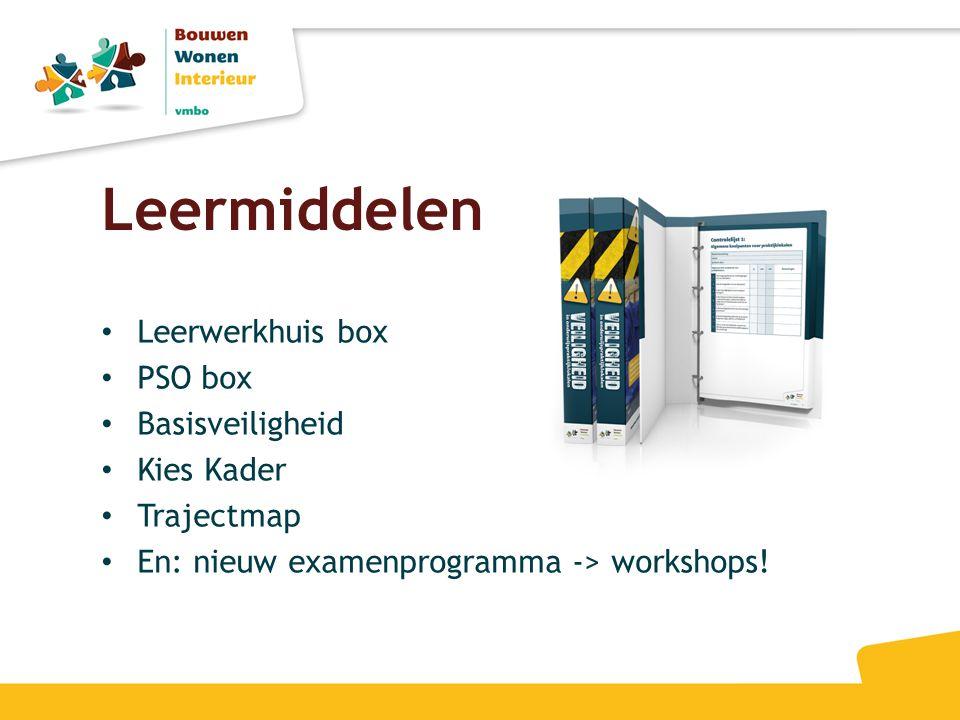Leermiddelen • Leerwerkhuis box • PSO box • Basisveiligheid • Kies Kader • Trajectmap • En: nieuw examenprogramma -> workshops!