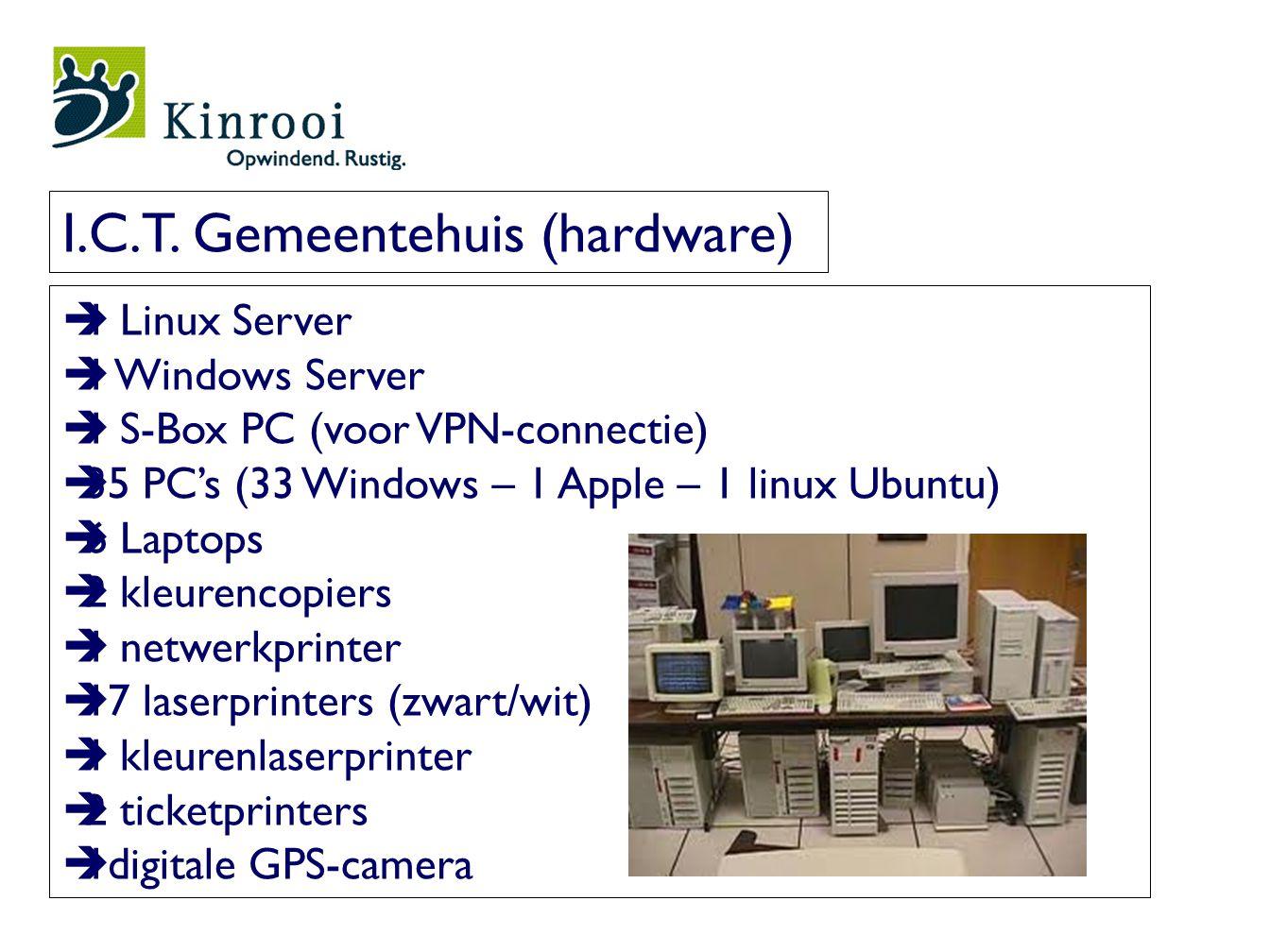  1 Linux Server  1 Windows Server  1 S-Box PC (voor VPN-connectie)  35 PC's (33 Windows – 1 Apple – 1 linux Ubuntu)  6 Laptops  2 kleurencopiers  1 netwerkprinter  17 laserprinters (zwart/wit)  1 kleurenlaserprinter  2 ticketprinters  1digitale GPS-camera I.C.T.