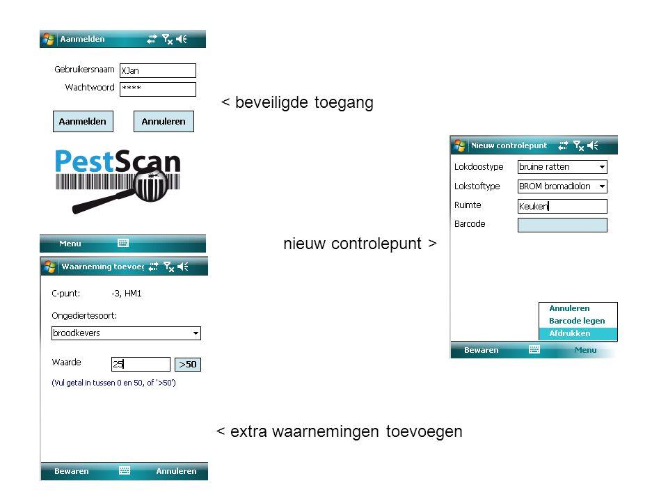 < beveiligde toegang < extra waarnemingen toevoegen nieuw controlepunt >