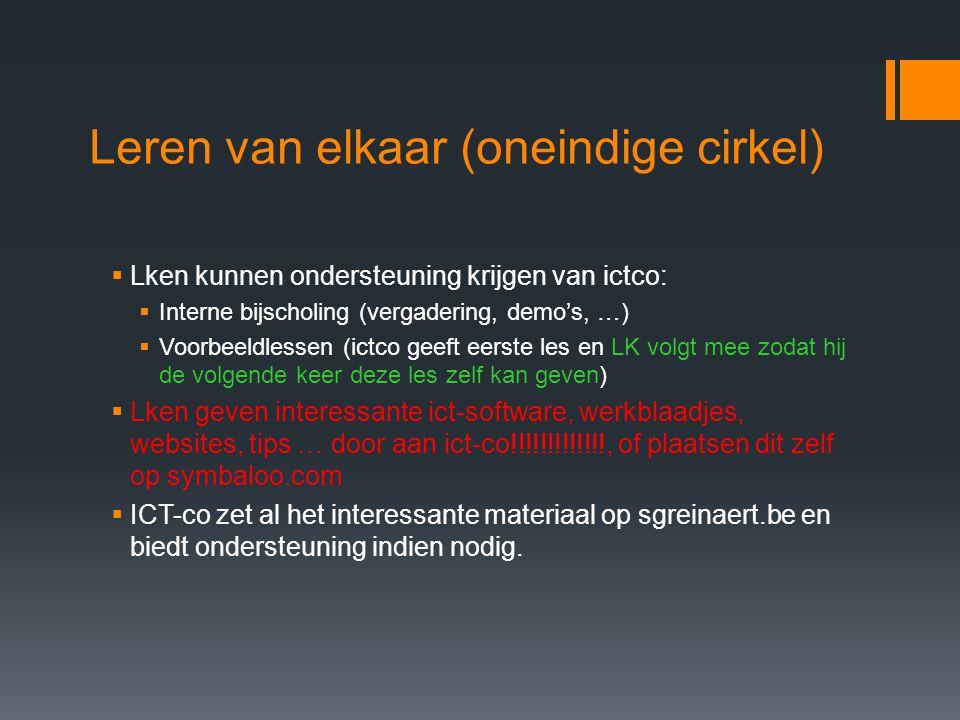 Leren van elkaar (oneindige cirkel)  Lken kunnen ondersteuning krijgen van ictco:  Interne bijscholing (vergadering, demo's, …)  Voorbeeldlessen (ictco geeft eerste les en LK volgt mee zodat hij de volgende keer deze les zelf kan geven)  Lken geven interessante ict-software, werkblaadjes, websites, tips … door aan ict-co!!!!!!!!!!!!!, of plaatsen dit zelf op symbaloo.com  ICT-co zet al het interessante materiaal op sgreinaert.be en biedt ondersteuning indien nodig.