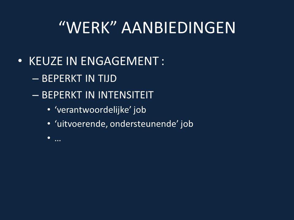 WERK AANBIEDINGEN • KEUZE IN ENGAGEMENT : – BEPERKT IN TIJD – BEPERKT IN INTENSITEIT • 'verantwoordelijke' job • 'uitvoerende, ondersteunende' job • …