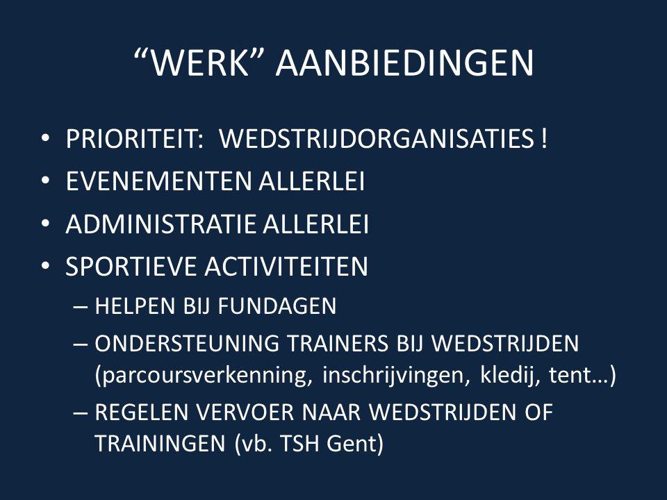 WERK AANBIEDINGEN • PRIORITEIT: WEDSTRIJDORGANISATIES .
