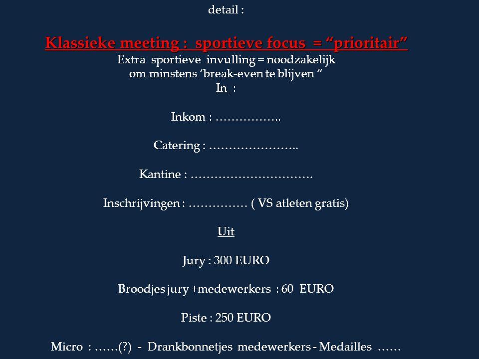 detail : Klassieke meeting : sportieve focus = prioritair Extra sportieve invulling = noodzakelijk om minstens 'break-even te blijven In : Inkom : ……………..
