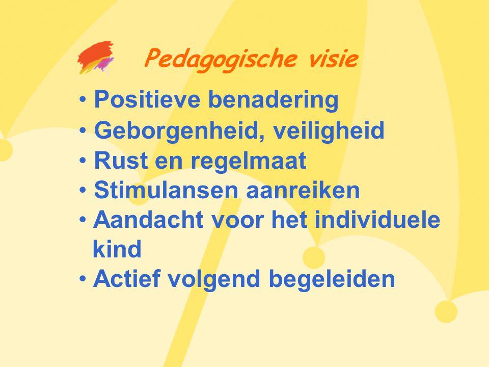 Pedagogische visie • Positieve benadering • Geborgenheid, veiligheid • Rust en regelmaat • Stimulansen aanreiken • Aandacht voor het individuele kind • Actief volgend begeleiden