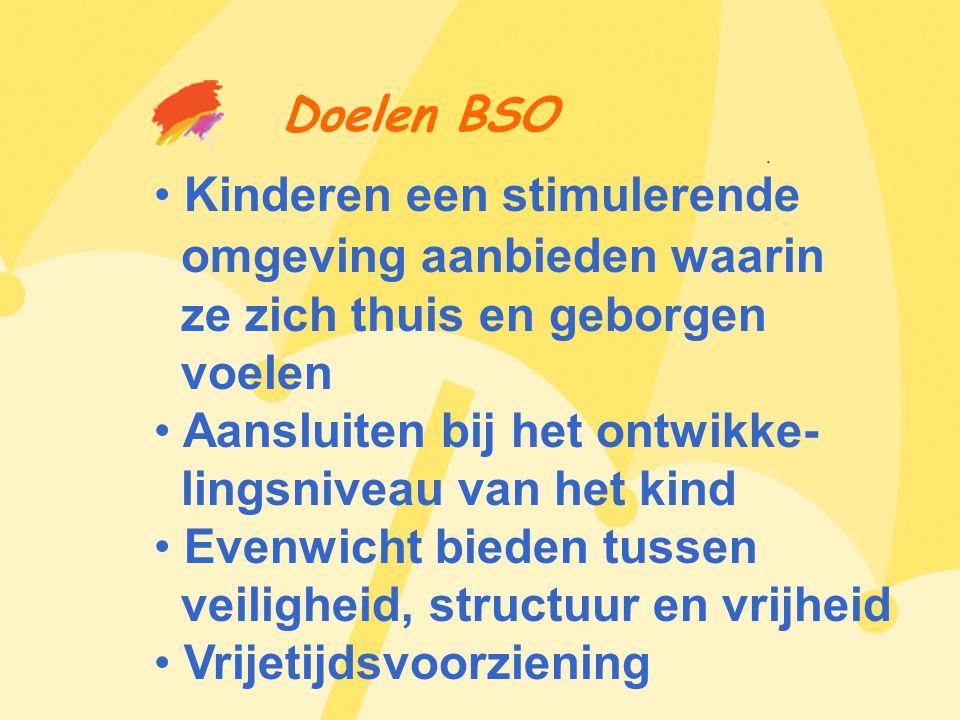 Doelen BSO • Kinderen een stimulerende omgeving aanbieden waarin ze zich thuis en geborgen voelen • Aansluiten bij het ontwikke- lingsniveau van het kind • Evenwicht bieden tussen veiligheid, structuur en vrijheid • Vrijetijdsvoorziening