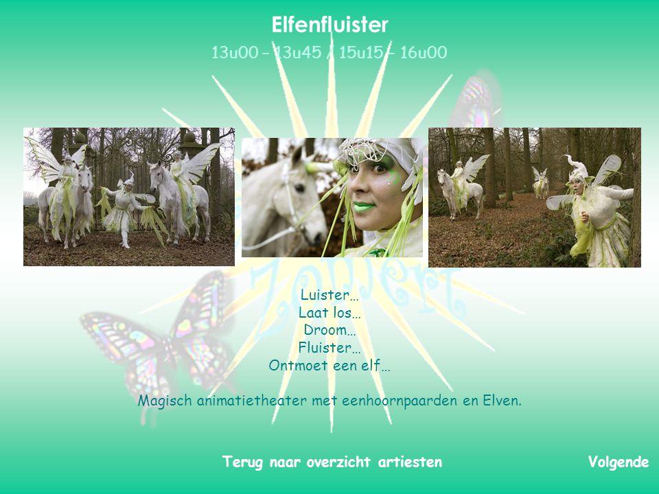 Luister… Laat los… Droom… Fluister… Ontmoet een elf… Magisch animatietheater met eenhoornpaarden en Elven.