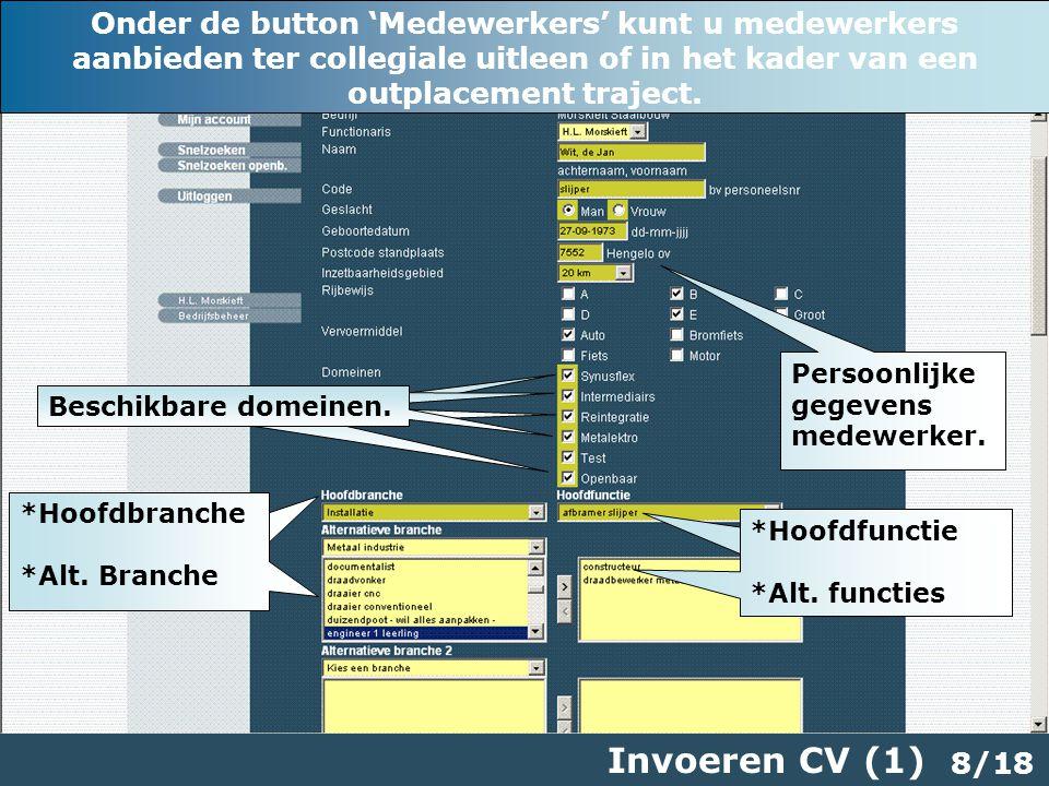 8/18 Invoeren CV (1) Persoonlijke gegevens medewerker.