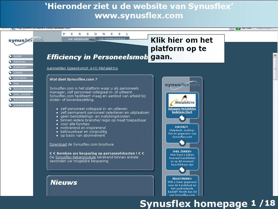 Synusflex homepage 1 /18 Klik hier om het platform op te gaan.