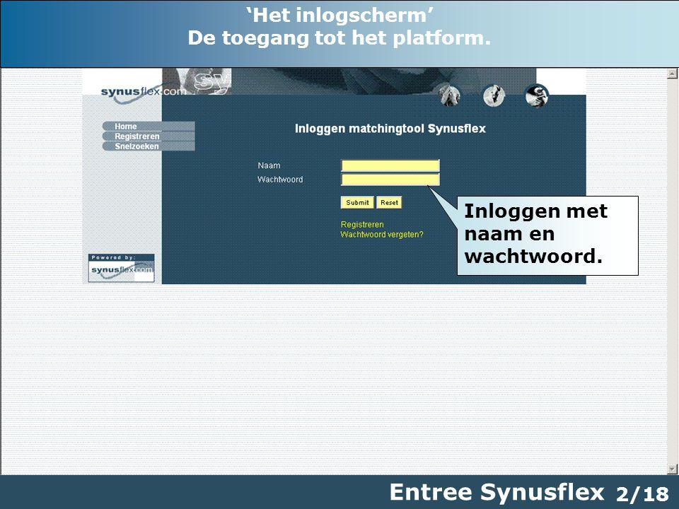2/18 Entree Synusflex Inloggen met naam en wachtwoord.
