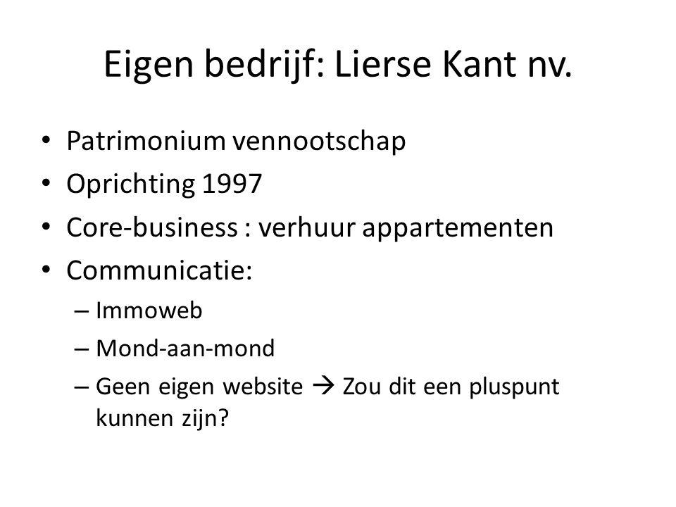 Eigen bedrijf: Lierse Kant nv. • Patrimonium vennootschap • Oprichting 1997 • Core-business : verhuur appartementen • Communicatie: – Immoweb – Mond-a