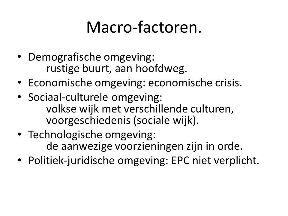 Macro-factoren. • Demografische omgeving: rustige buurt, aan hoofdweg. • Economische omgeving: economische crisis. • Sociaal-culturele omgeving: volks