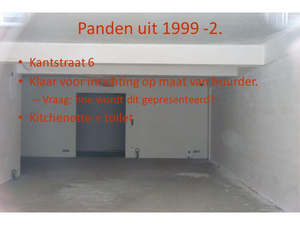 Panden uit 1999 -2. • Kantstraat 6 • Klaar voor inrichting op maat van huurder. – Vraag: hoe wordt dit gepresenteerd? • Kitchenette + toilet