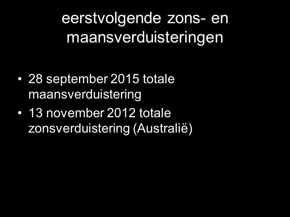 eerstvolgende zons- en maansverduisteringen •28 september 2015 totale maansverduistering •13 november 2012 totale zonsverduistering (Australië)