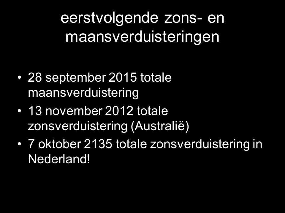 eerstvolgende zons- en maansverduisteringen •28 september 2015 totale maansverduistering •13 november 2012 totale zonsverduistering (Australië) •7 okt