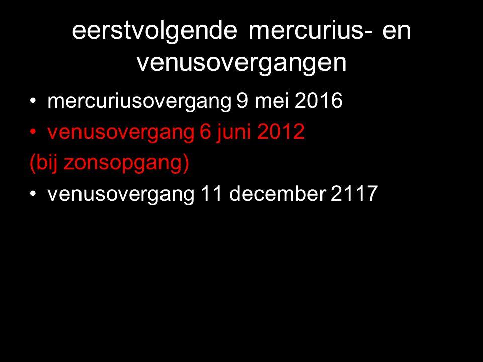 eerstvolgende mercurius- en venusovergangen •mercuriusovergang 9 mei 2016 •venusovergang 6 juni 2012 (bij zonsopgang) •venusovergang 11 december 2117