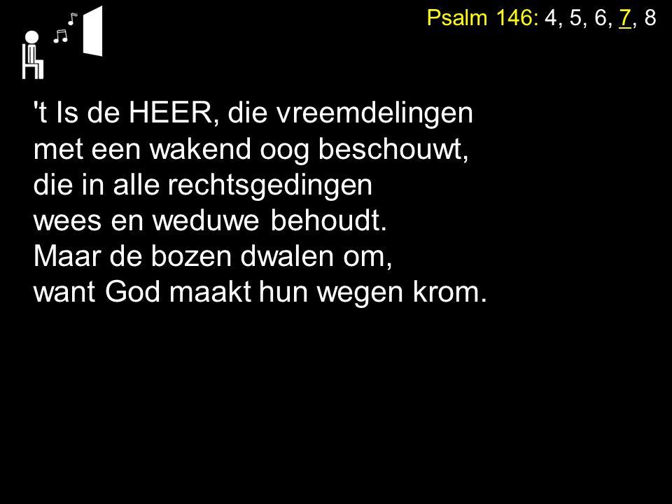 Psalm 146: 4, 5, 6, 7, 8 't Is de HEER, die vreemdelingen met een wakend oog beschouwt, die in alle rechtsgedingen wees en weduwe behoudt. Maar de boz