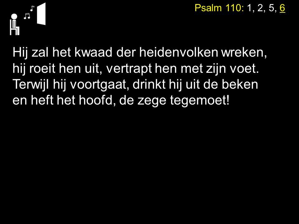 Psalm 110: 1, 2, 5, 6 Hij zal het kwaad der heidenvolken wreken, hij roeit hen uit, vertrapt hen met zijn voet. Terwijl hij voortgaat, drinkt hij uit