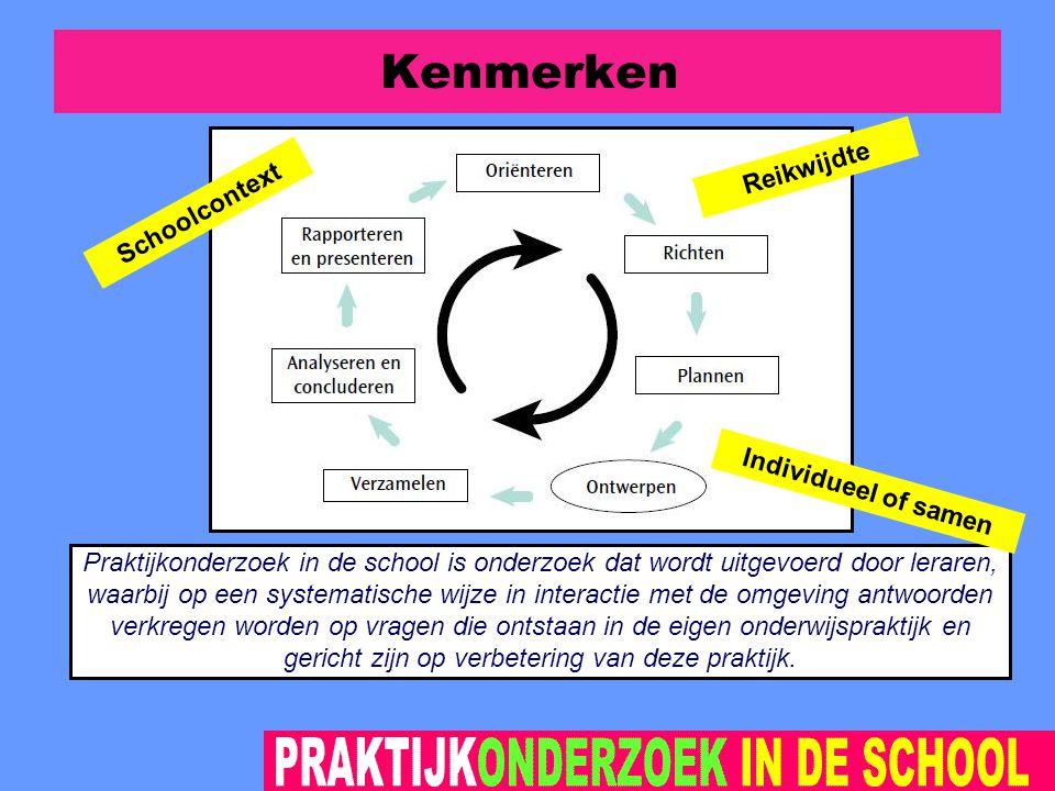 Kenmerken Praktijkonderzoek in de school is onderzoek dat wordt uitgevoerd door leraren, waarbij op een systematische wijze in interactie met de omgeving antwoorden verkregen worden op vragen die ontstaan in de eigen onderwijspraktijk en gericht zijn op verbetering van deze praktijk.